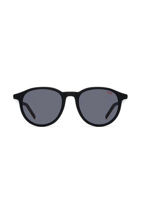 Unisex round sunglasses in multi-layer acetate, Negro