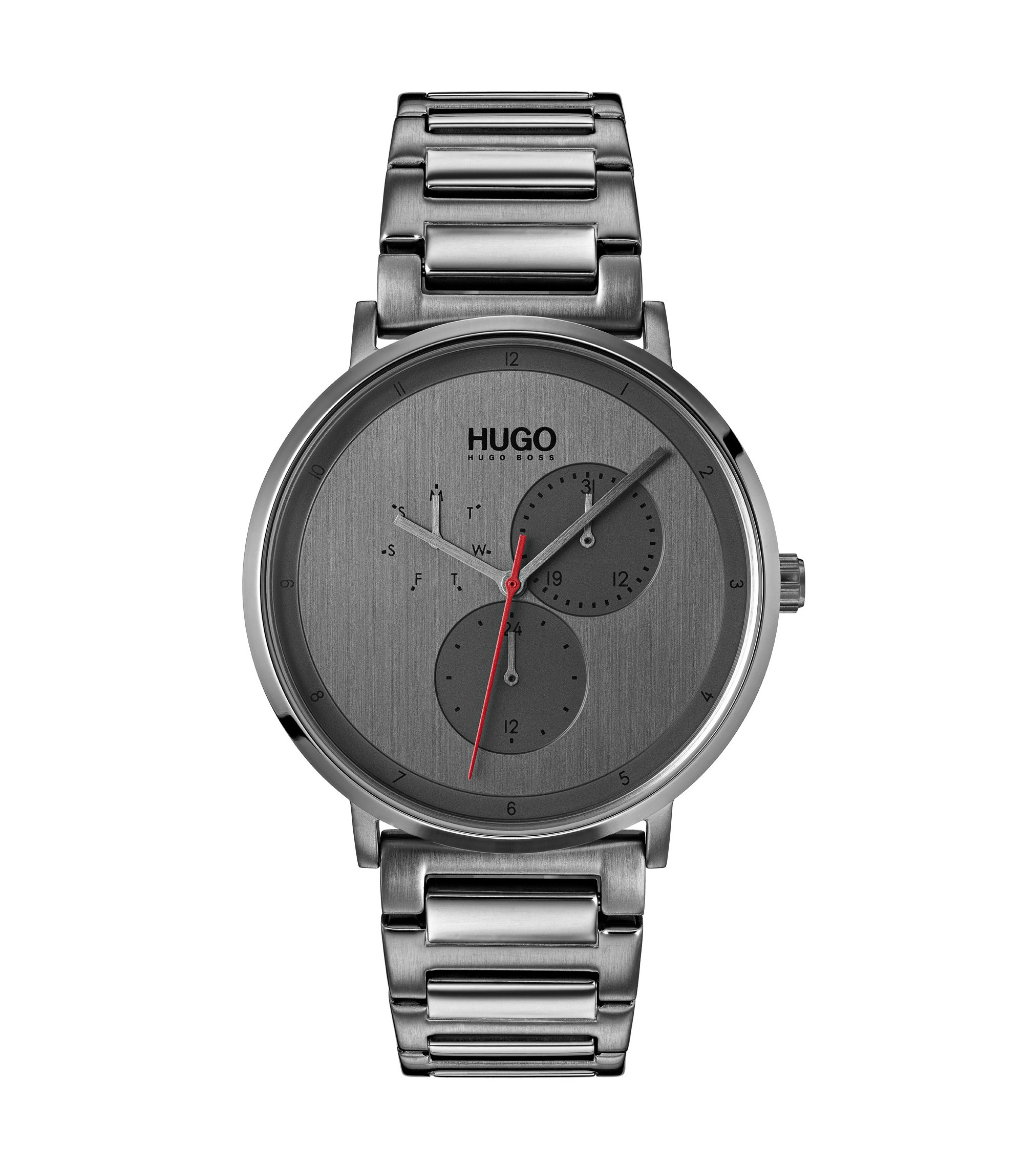 Grey-plated watch with stainless-steel bracelet, Silver