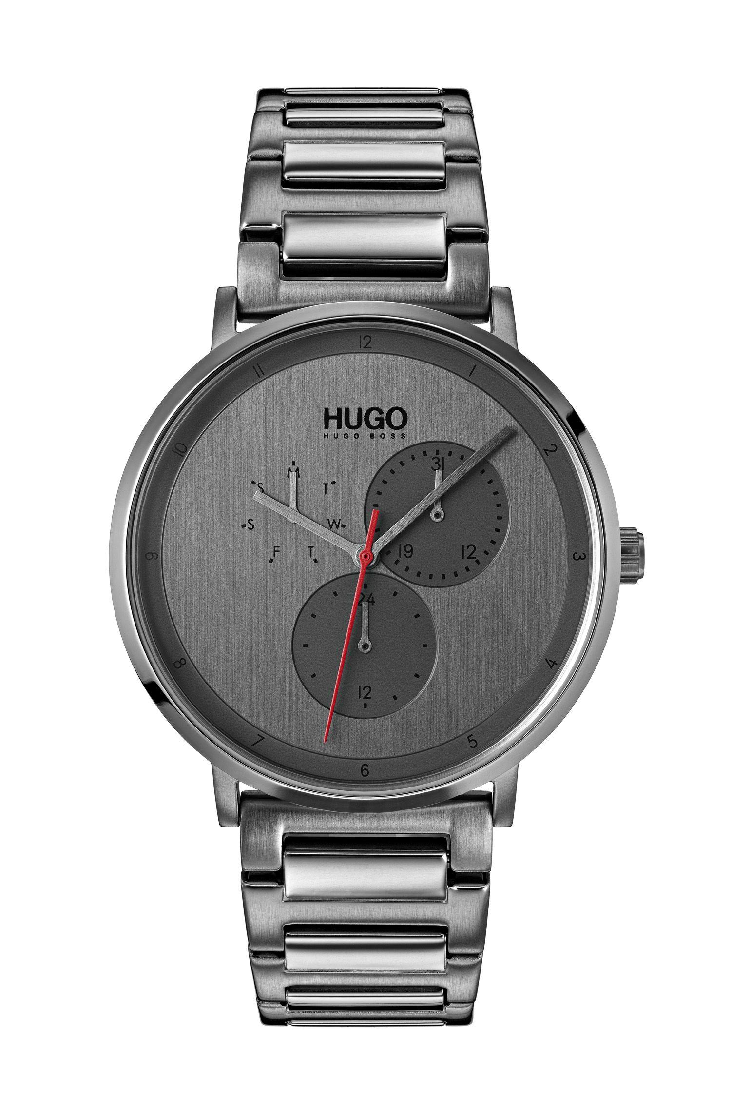 Grau beschichtete Uhr aus Edelstahl, Silber