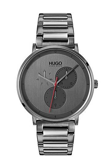 Montre plaquée grise avec bracelet en acier...