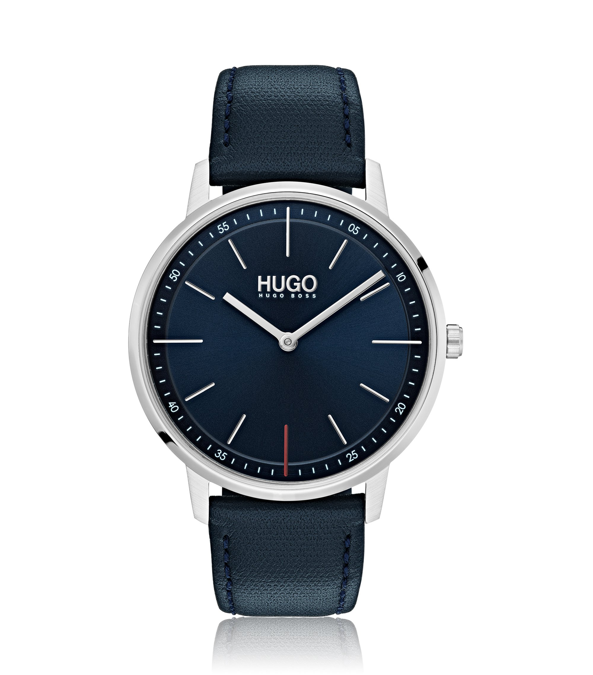 Unisex blue-dial watch with leather strap, Dark Blue