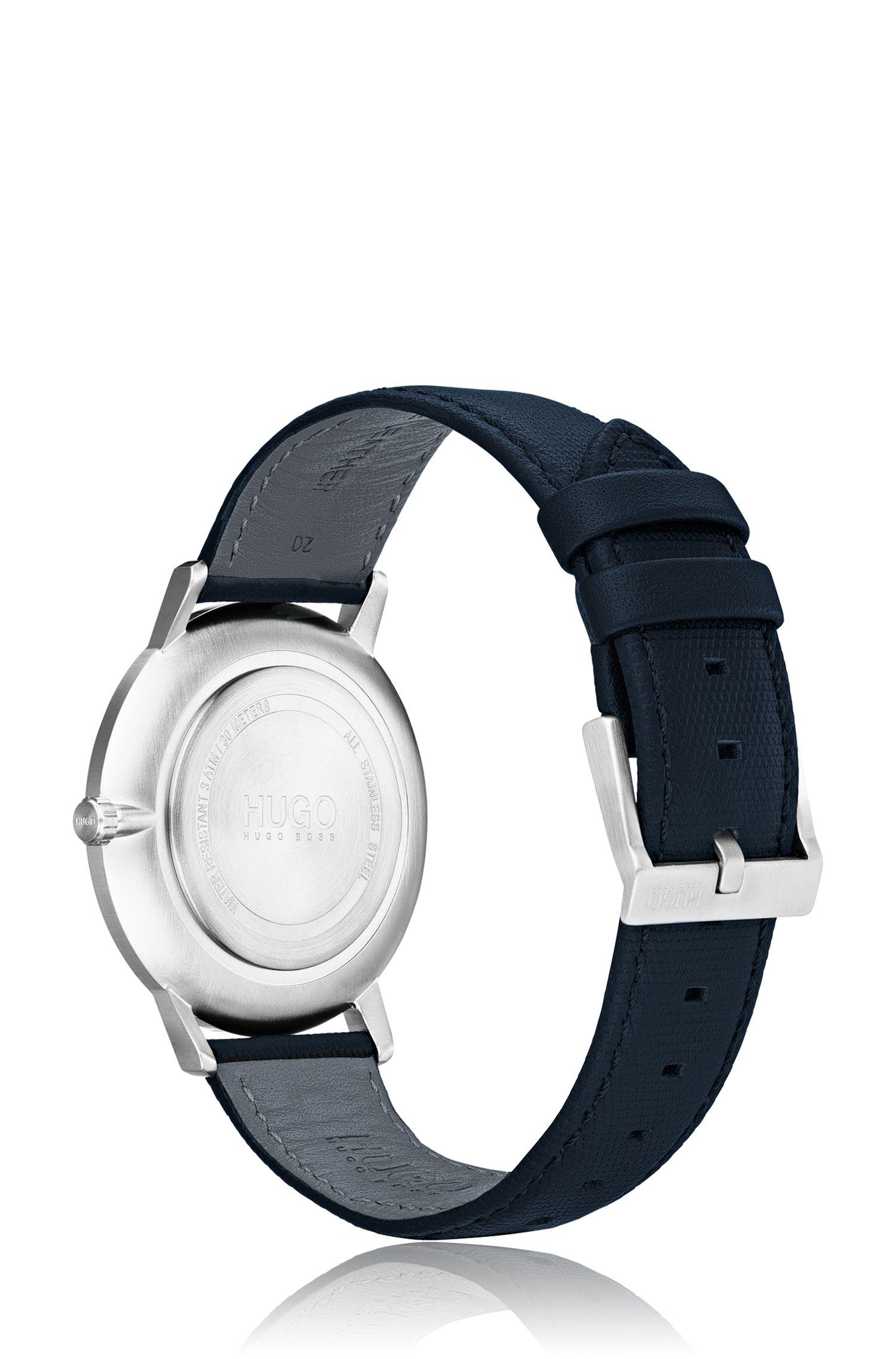 Unisex-Uhr mit blauem Zifferblatt und Lederarmband, Dunkelblau