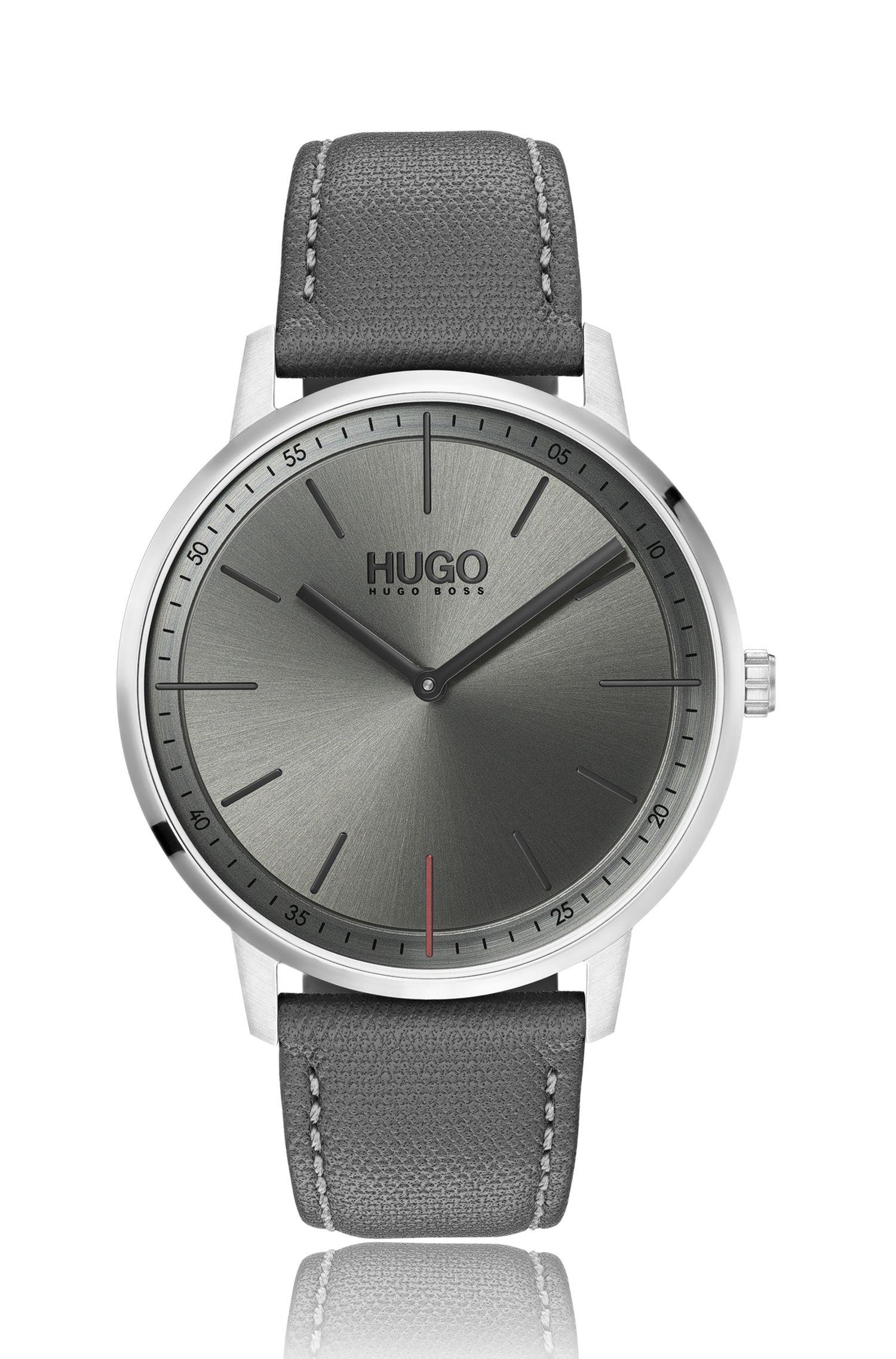 Orologio unisex in acciaio inox con quadrante grigio, Grigio