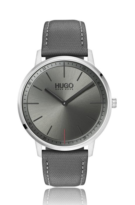 Unisex stainless-steel watch with grey dial, Grey