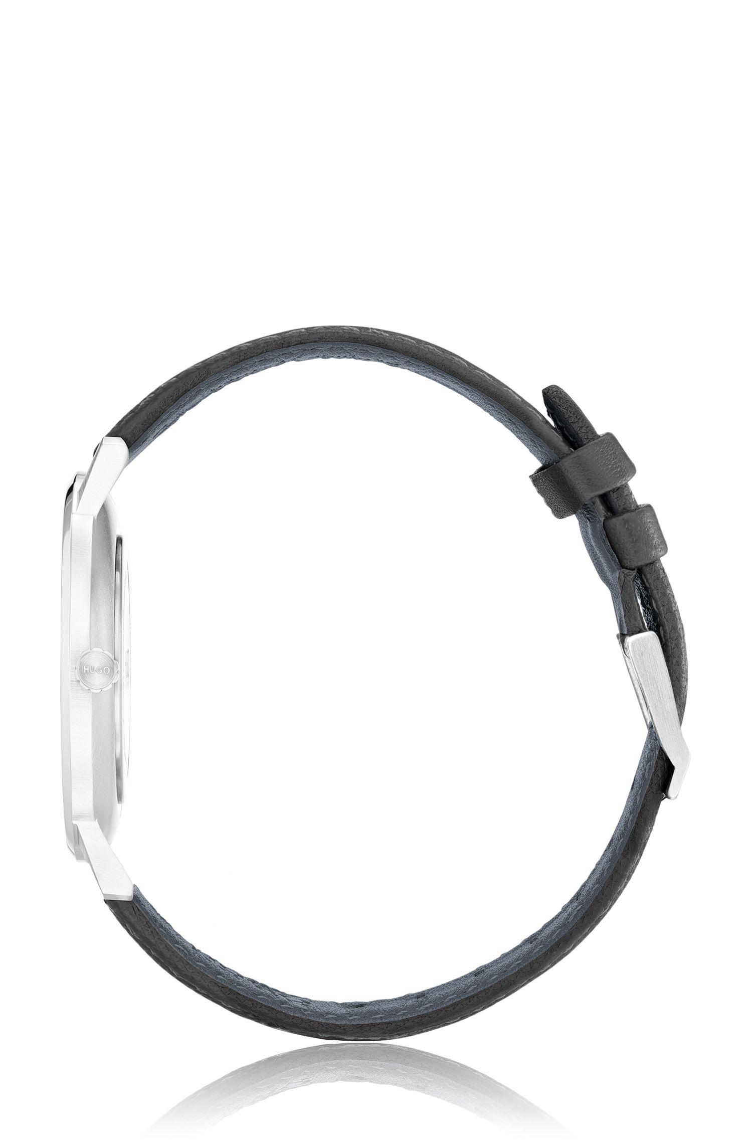 Unisex-Uhr aus Edelstahl mit grauem Zifferblatt, Grau