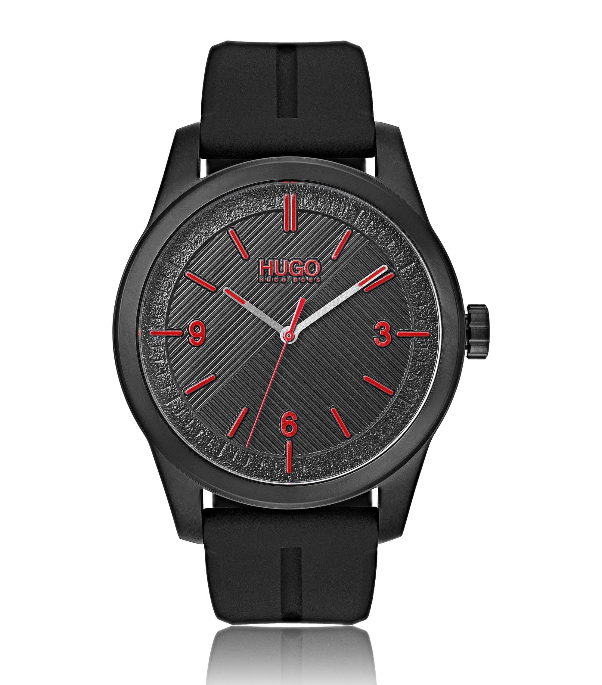 Reloj chapado en negro con esfera de varias texturas, Negro
