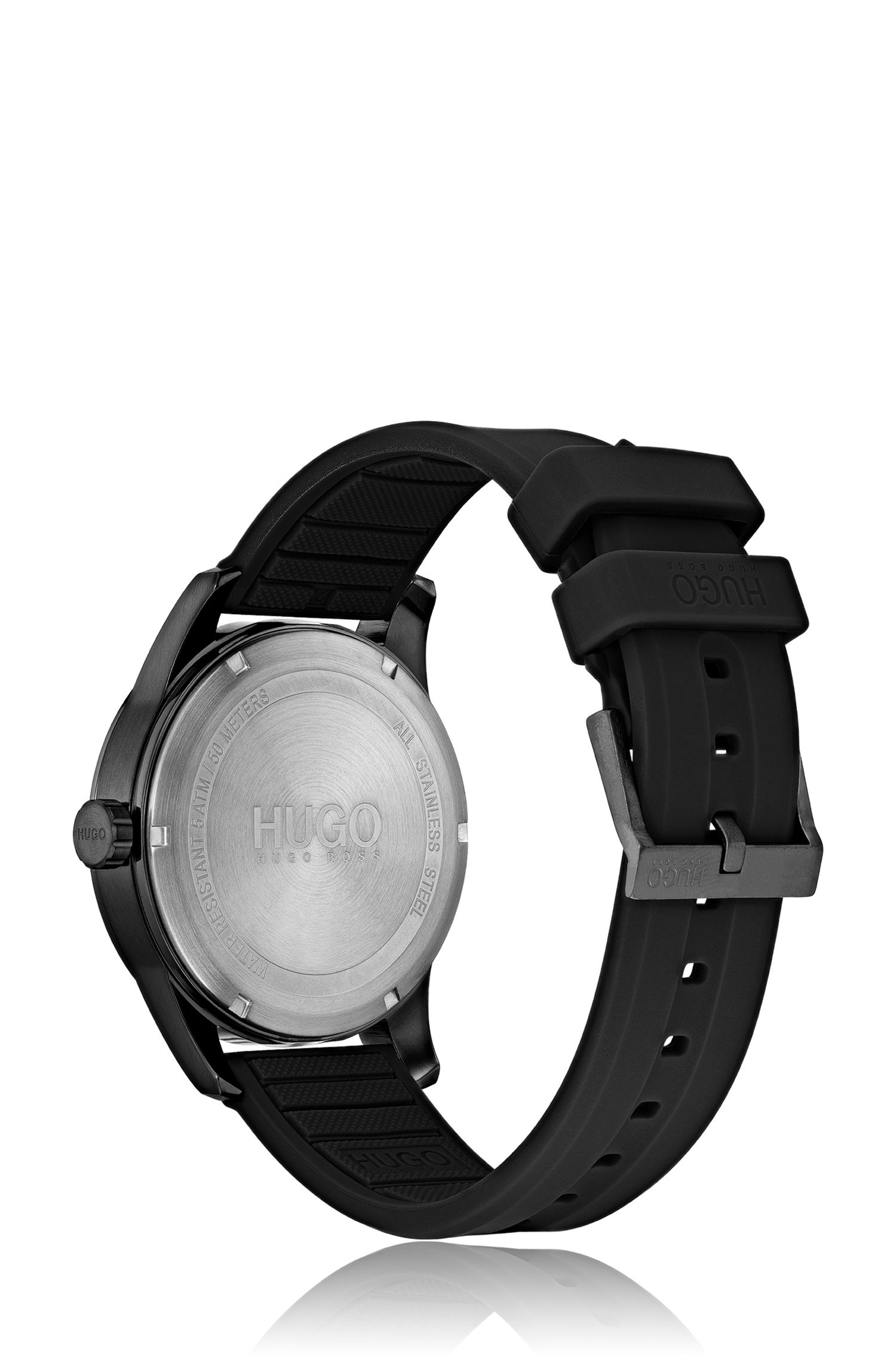 Black-plated watch with multi-textured dial, Black