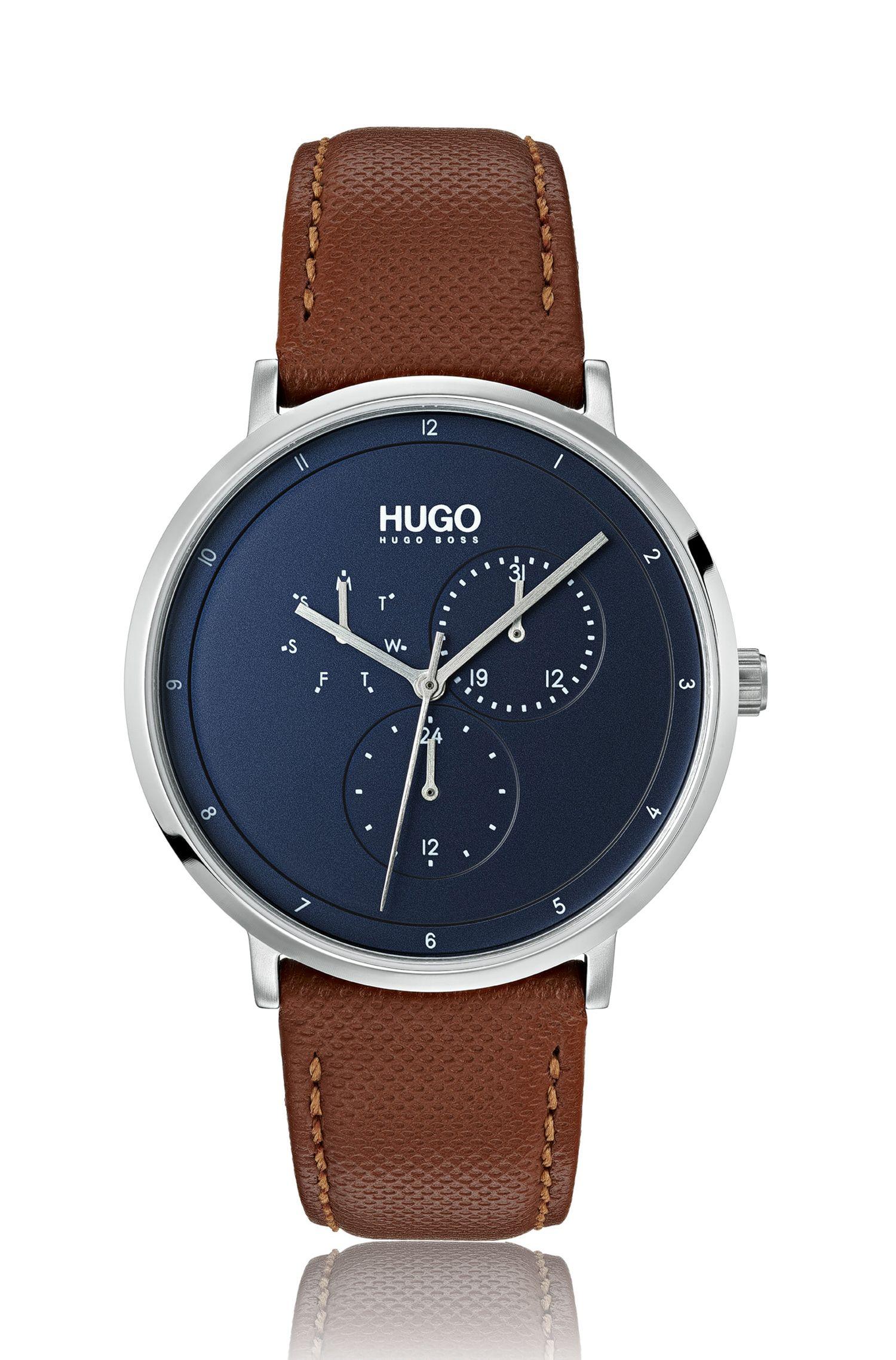 Reloj con correa de piel y esfera azul, Marrón