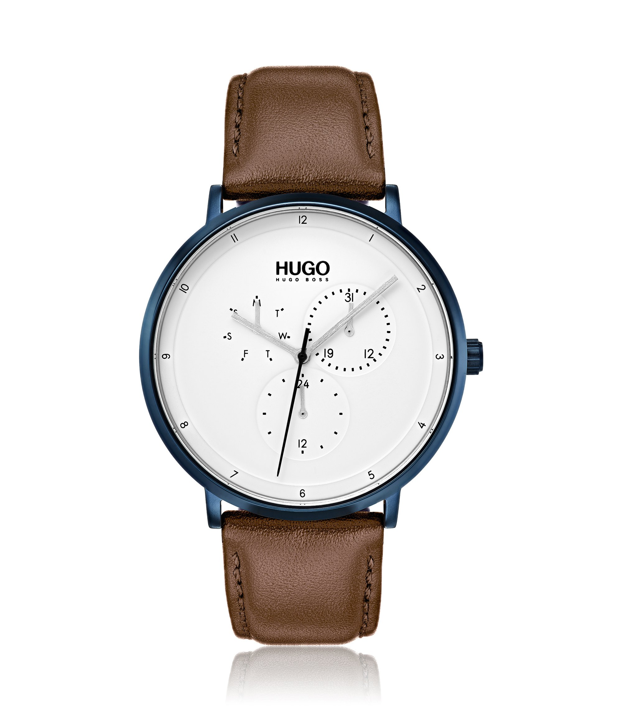 Three-hand watch with textured leather strap, Beige