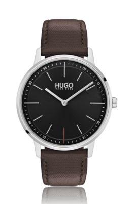 Uniseks horloge van roestvrij staal met polsband van bruin leer
