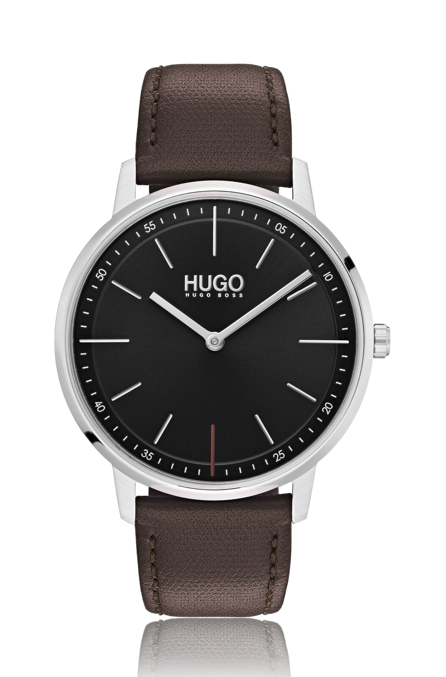 Unisex stainless-steel watch with brown-leather strap, Brown