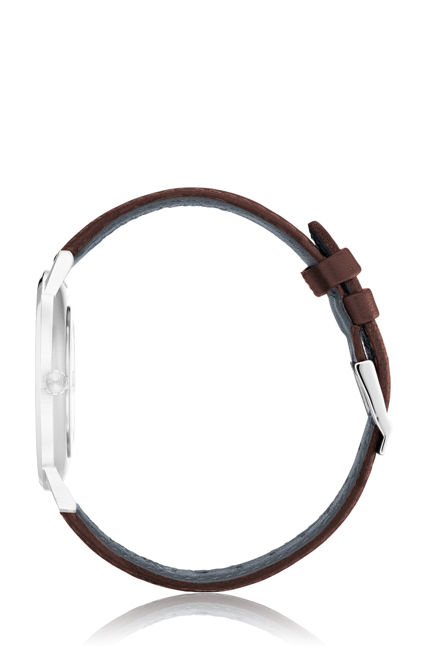 Montre mixte en acier inoxydable, avec bracelet en cuir marron, Marron