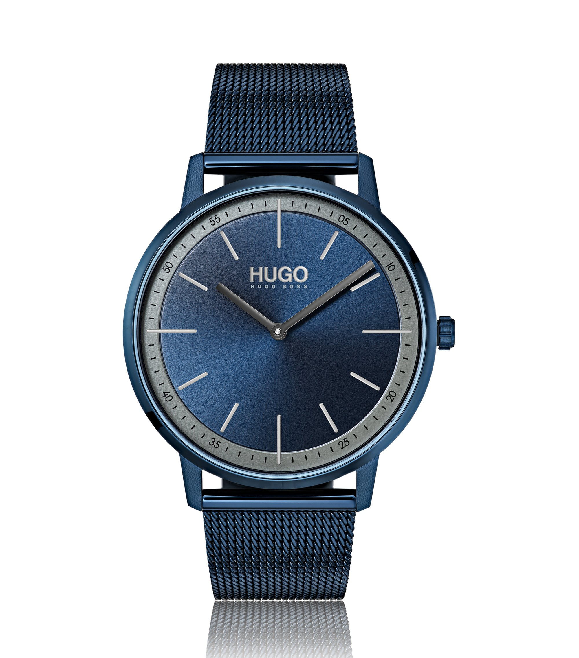 Unisex watch with blue mesh bracelet and dial, Blue