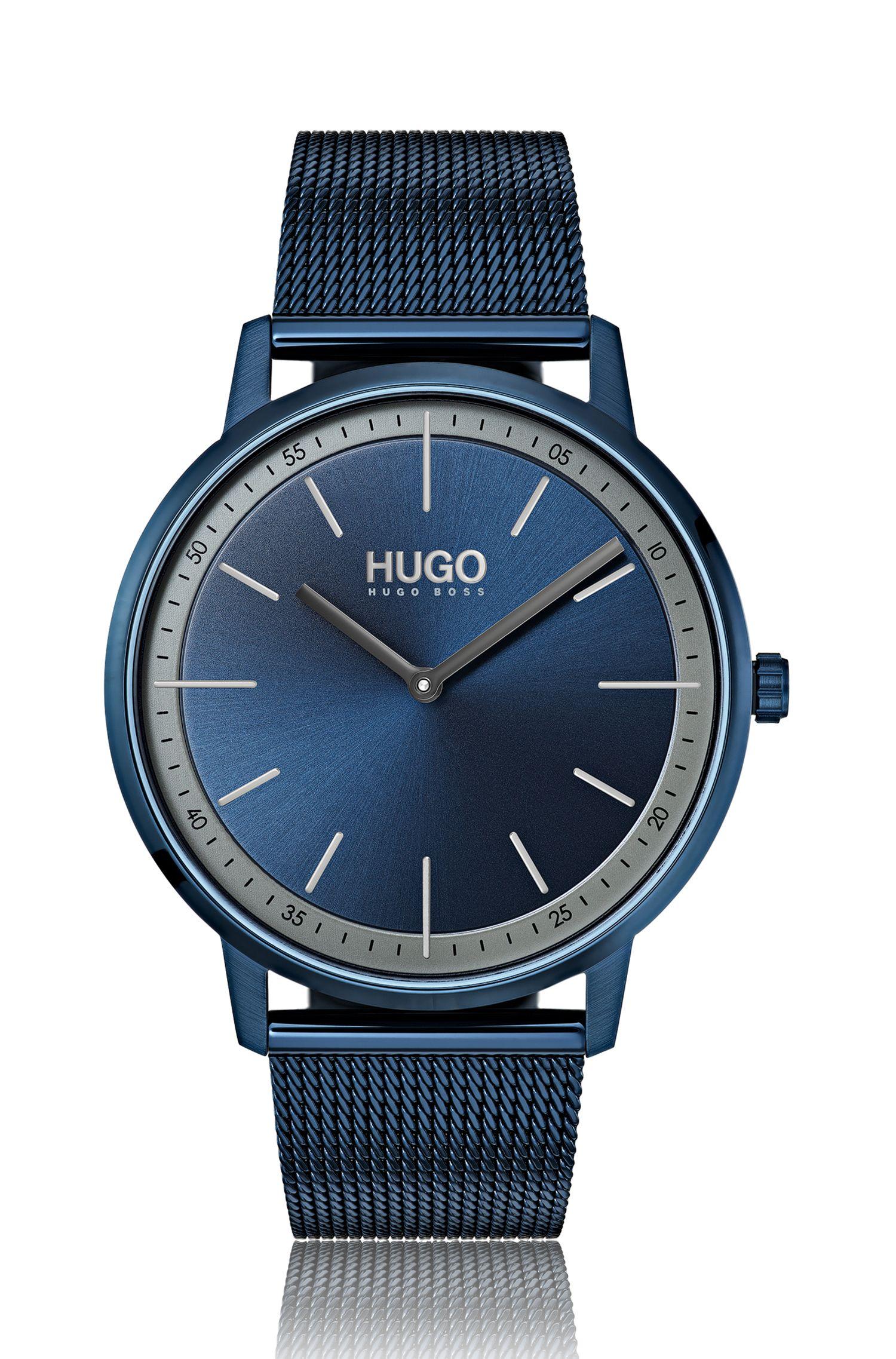 Unisex-Uhr mit Mesh-Armband und Zifferblatt in Blau, Blau