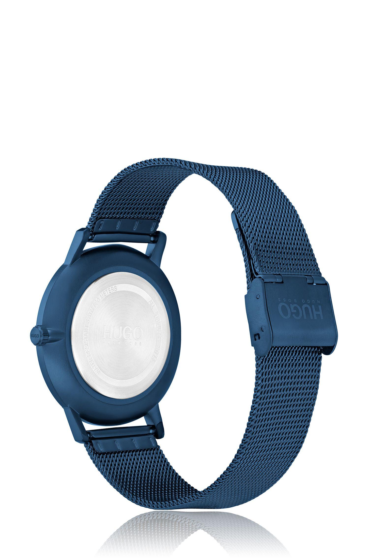 Montre mixte à cadran et bracelet en maille milanaise bleus, Bleu