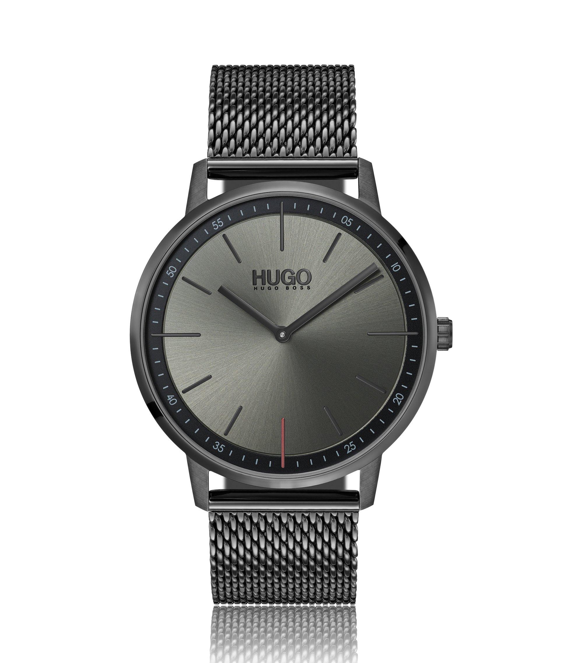 Montre mixte en acier inoxydable plaqué gris, avec bracelet en maille milanaise, Argent
