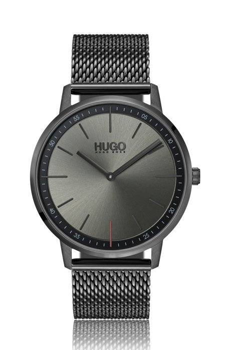 Unisex watch in grey-plated stainless steel with mesh bracelet, Silver