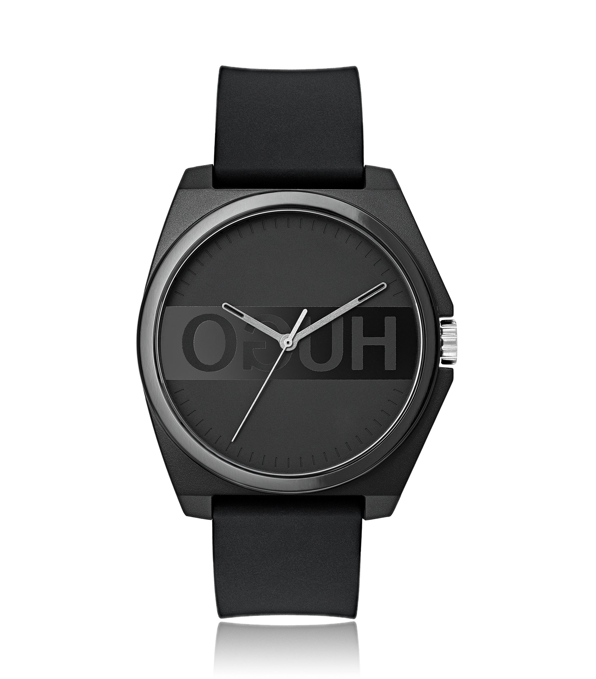 Reloj unisex con logo invertido en acero inoxidable chapado en negro, Negro