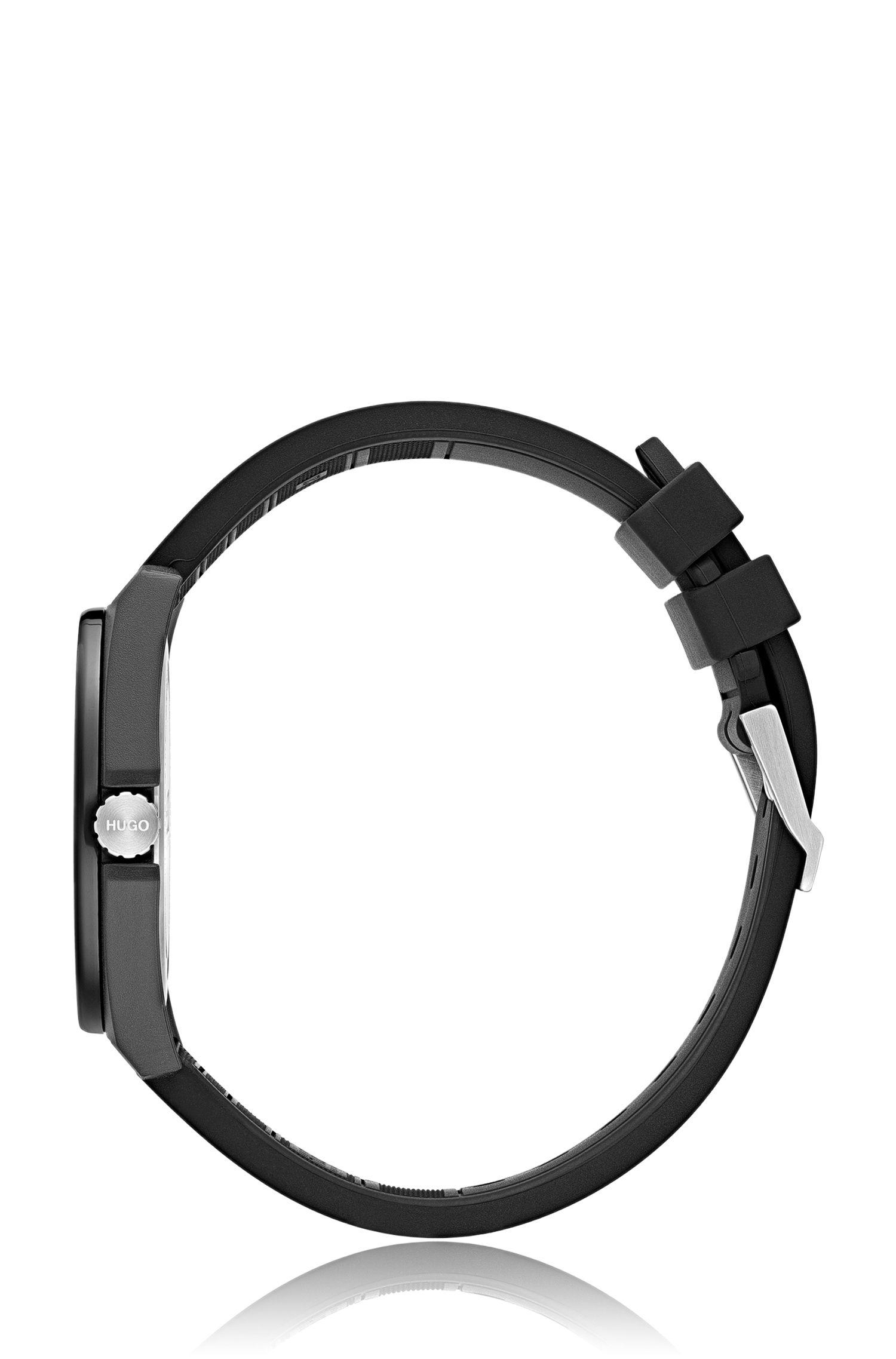 Unisex black watch with reverse logo, Black
