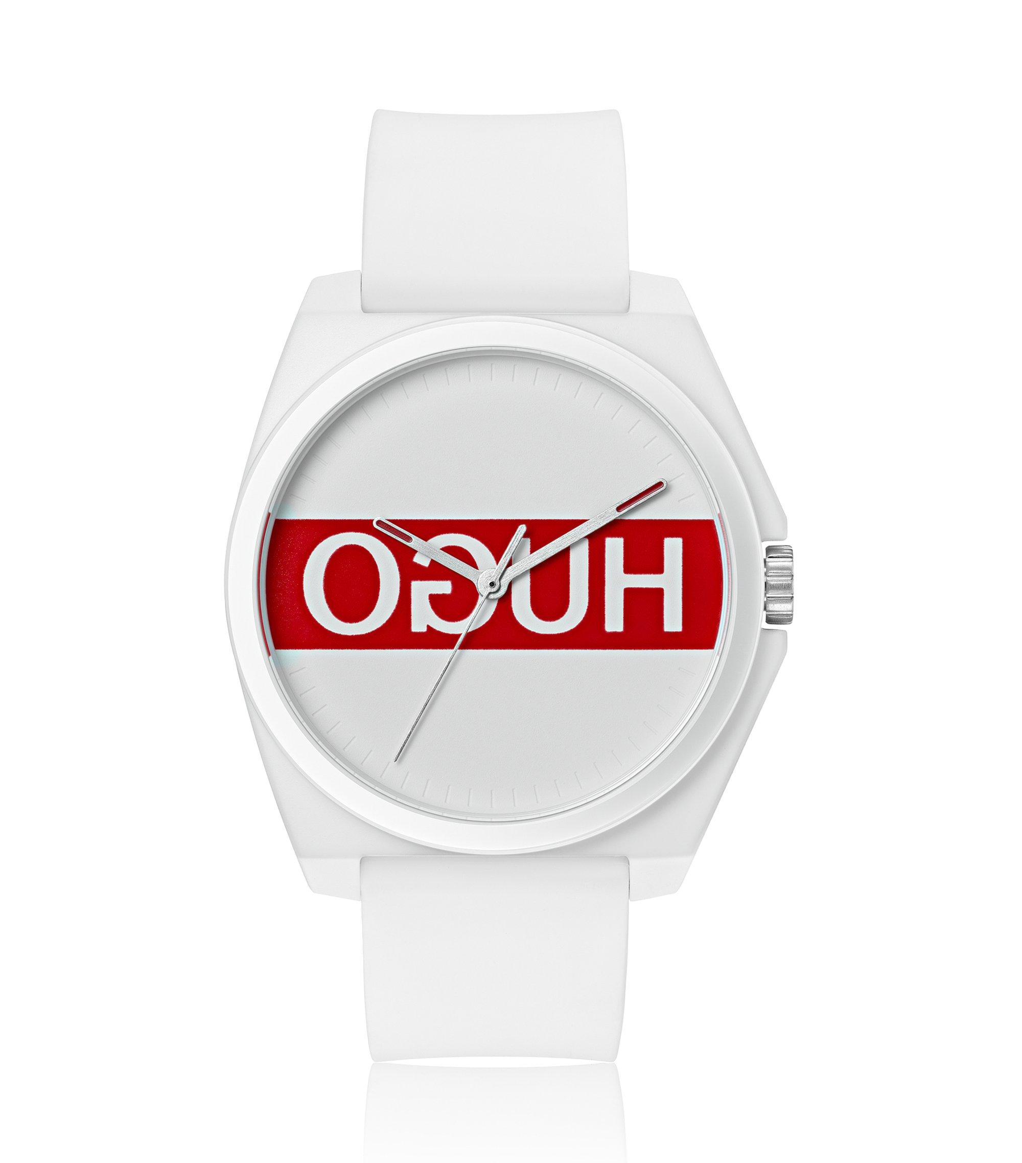 Reloj unisex con logo invertido y correa de silicona, Blanco