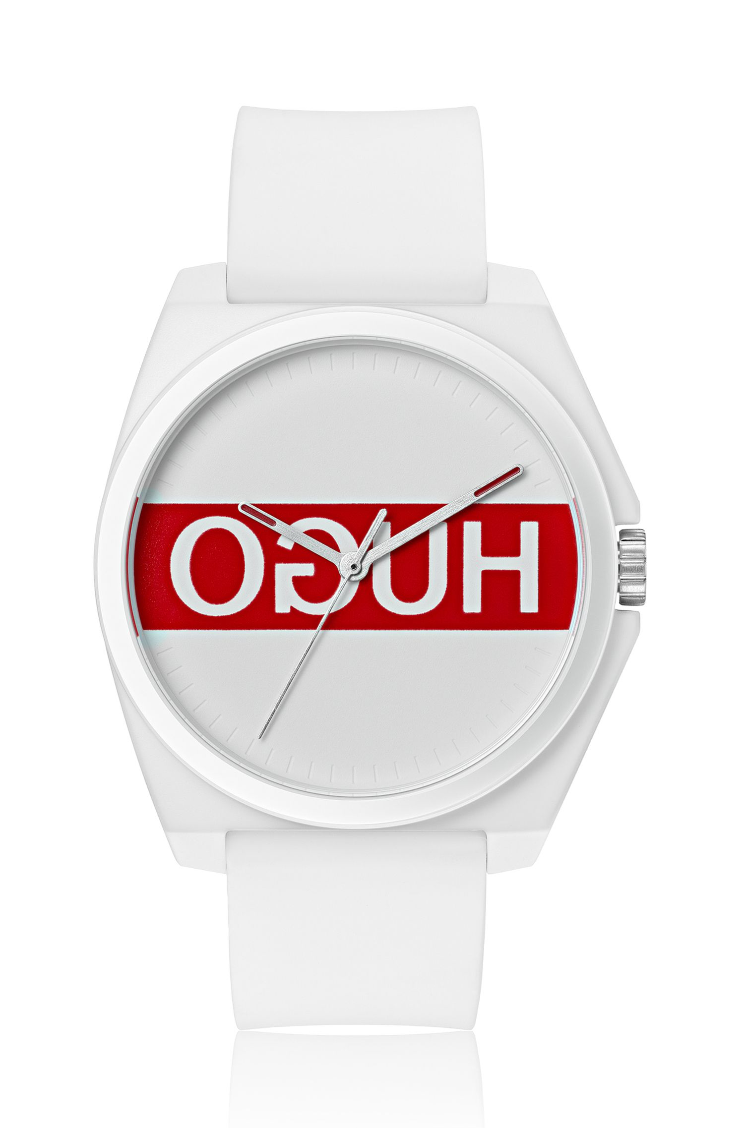 Montre mixte à logo inversé, avec bracelet en silicone, Blanc