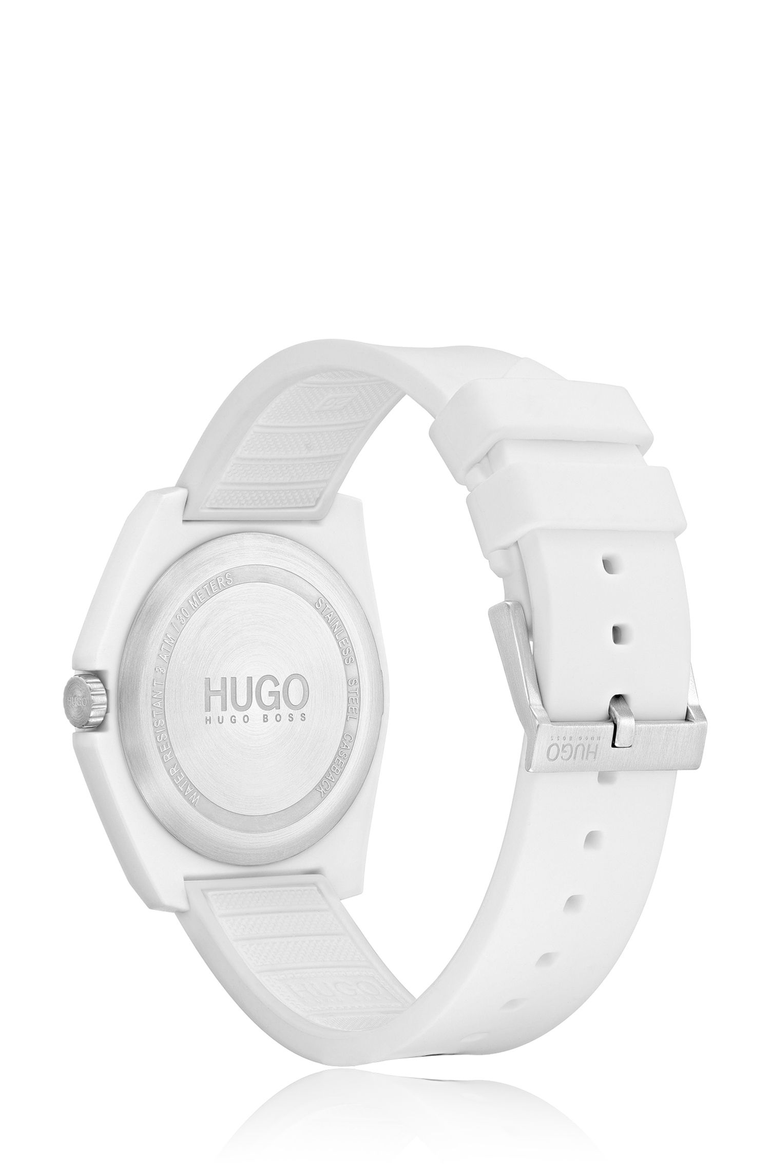 Unisex silicone-strap watch with reverse logo, White