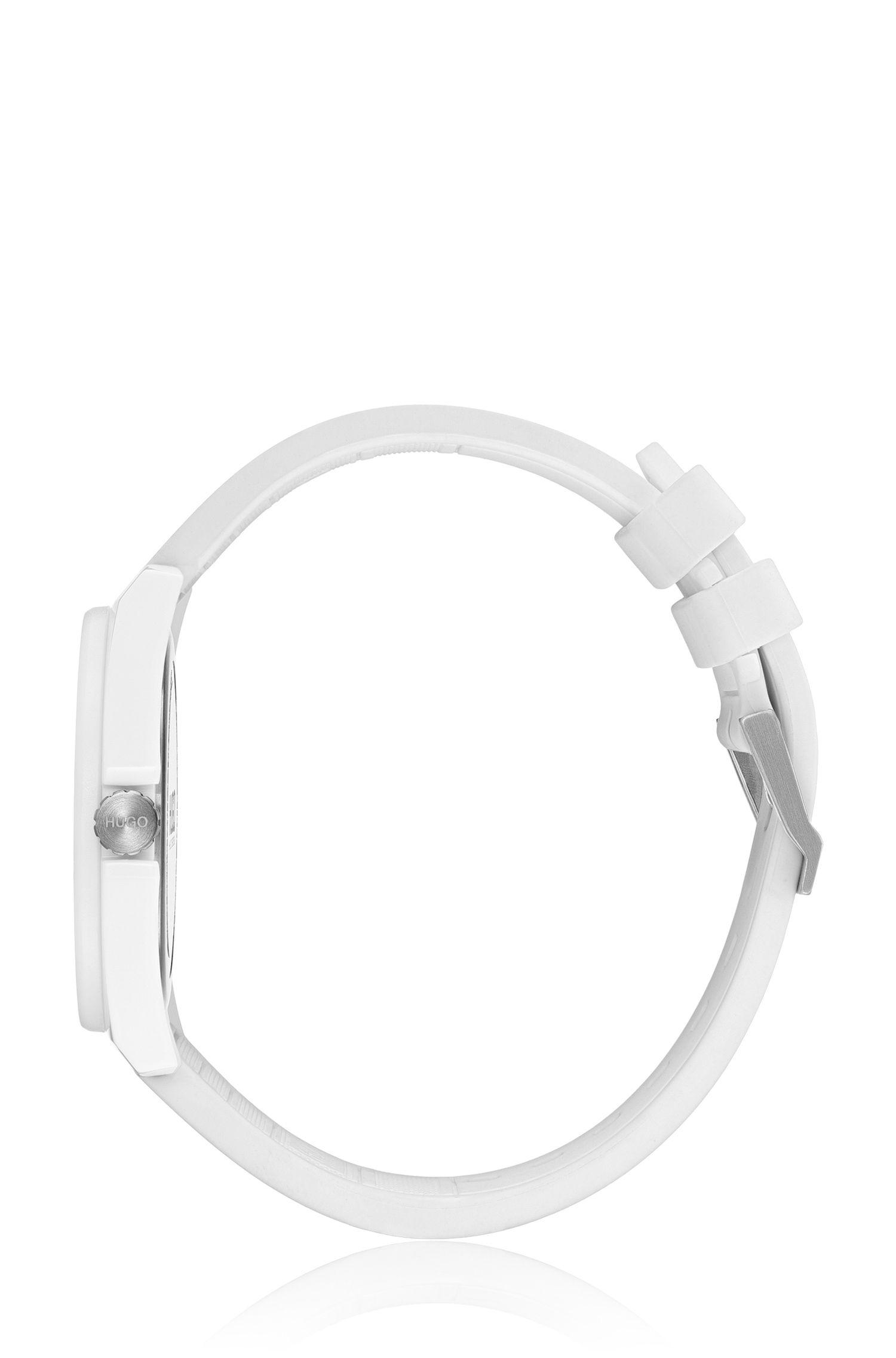 Orologio unisex con cinturino in silicone e logo a rovescio, Bianco