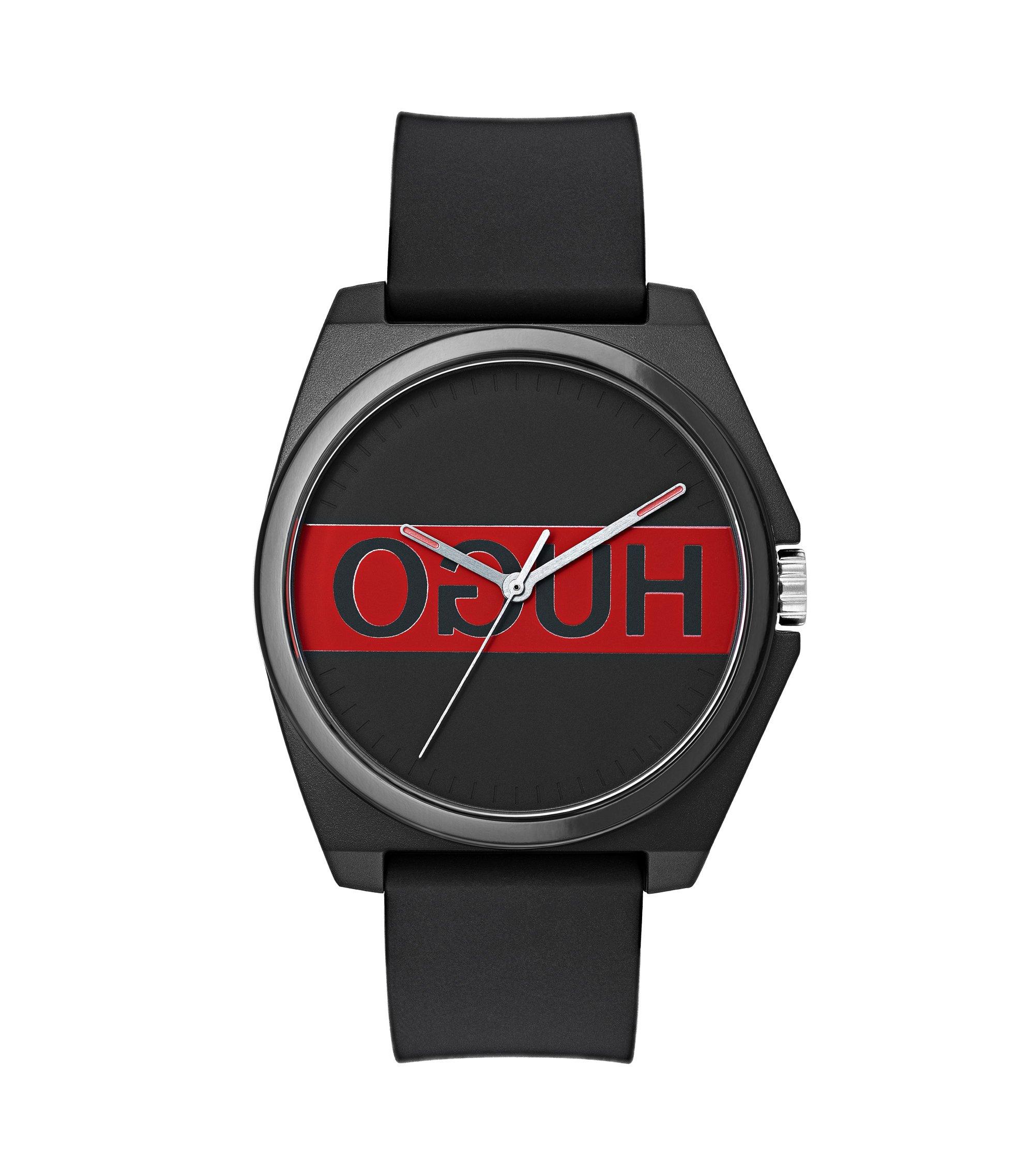 Horloge met drie wijzers, gespiegeld logo en polsband van siliconen, Assorted-Pre-Pack