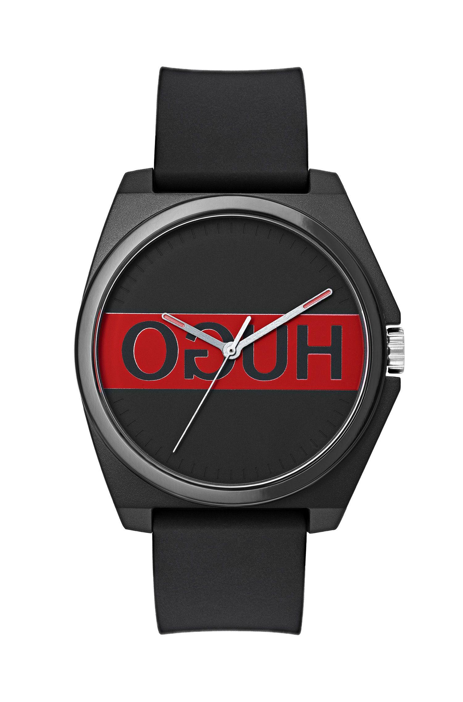 Uhr mit spiegelverkehrtem Logo und Silikon-Armband, Assorted-Pre-Pack