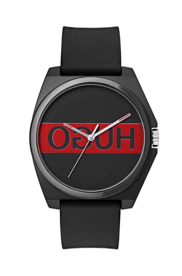 Three-hand watch with reverse logo and silicone strap