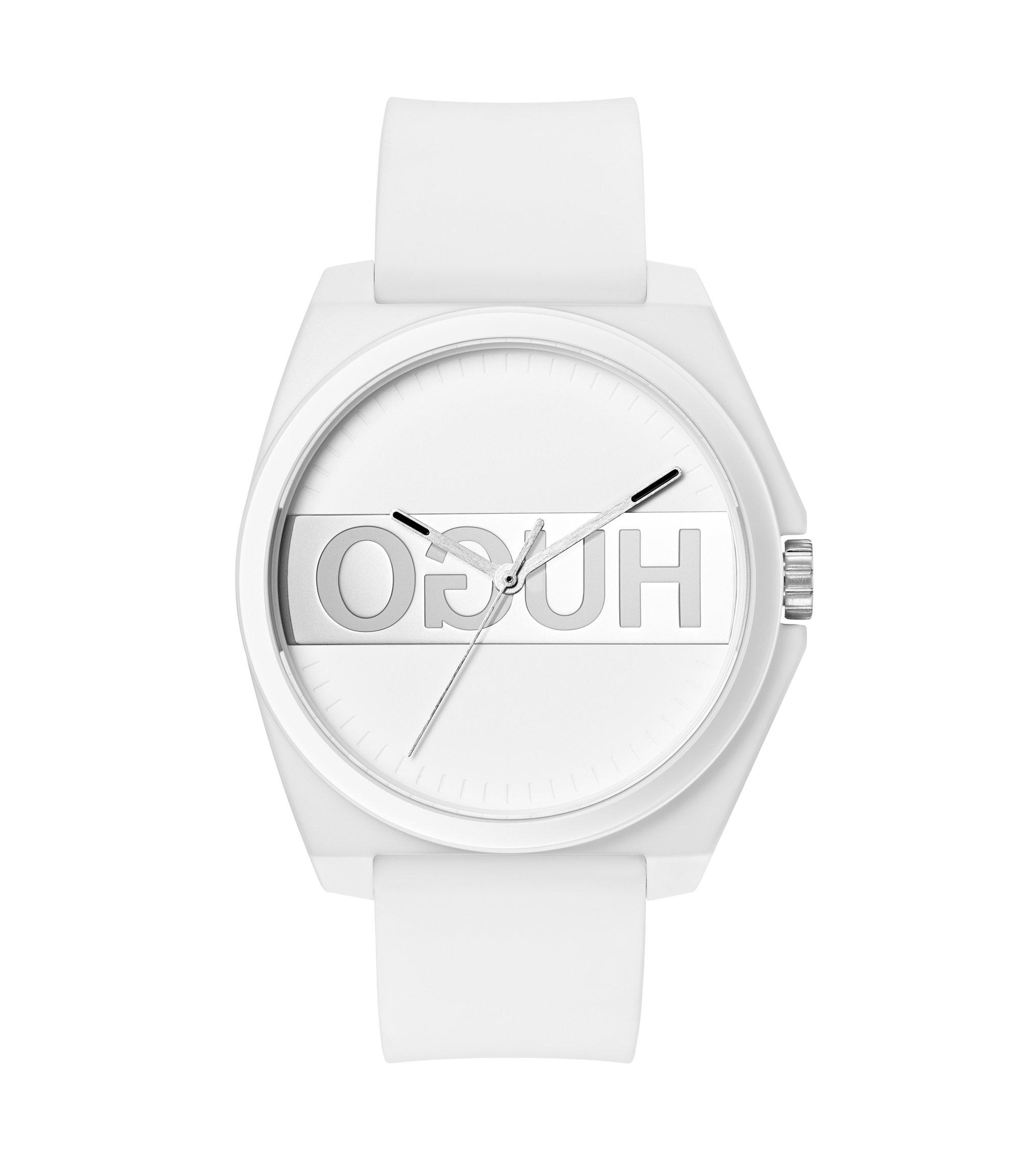 Weiße Unisex-Uhr mit Silikonarmband und Reversed-Logo, Weiß