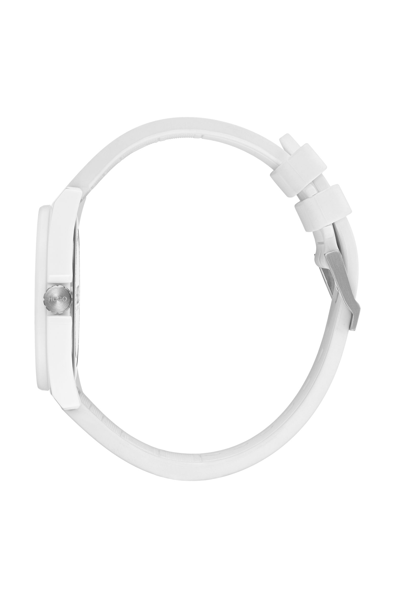 Unisex reverse-logo watch with white silicone strap, White
