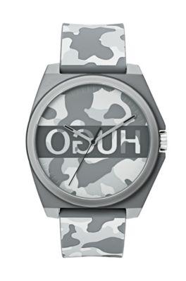 Uniseks horloge met camouflageprint en gespiegeld logo