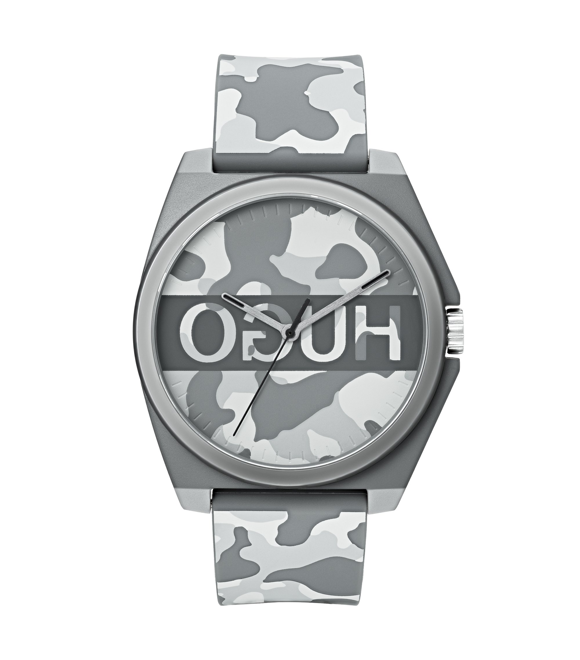 Unisex camouflage-print watch with reverse logo, Patterned