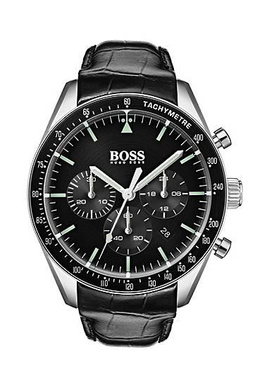 boss  Montre chronographe à cadran noir et bracelet en cuir embossé Mécanisme... par LeGuide.com Publicité