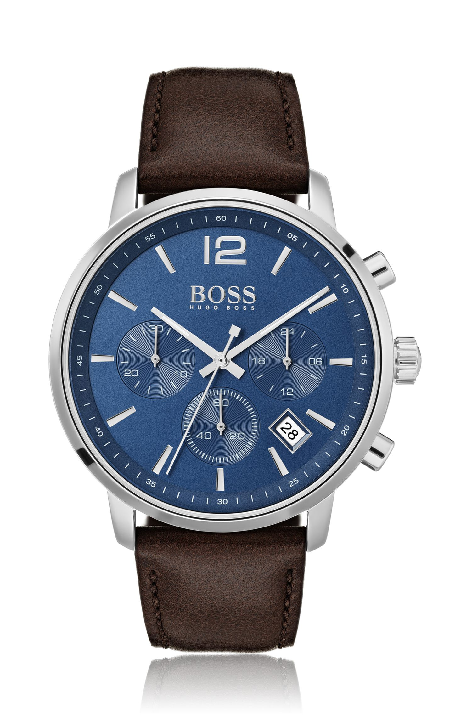 Stainless-steel chronograph watch with matt blue dial, Dark Brown