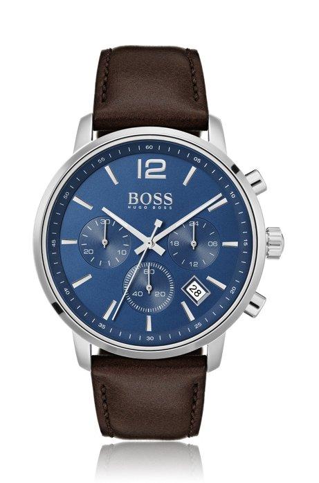 Stainless-steel chronograph watch with matt blue dial, Dark Brown