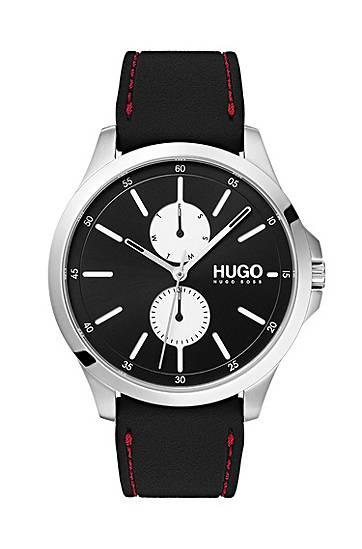 hugo  Montre chronographe en acier inoxydable avec bracelet en gomme surpiqué... par LeGuide.com Publicité