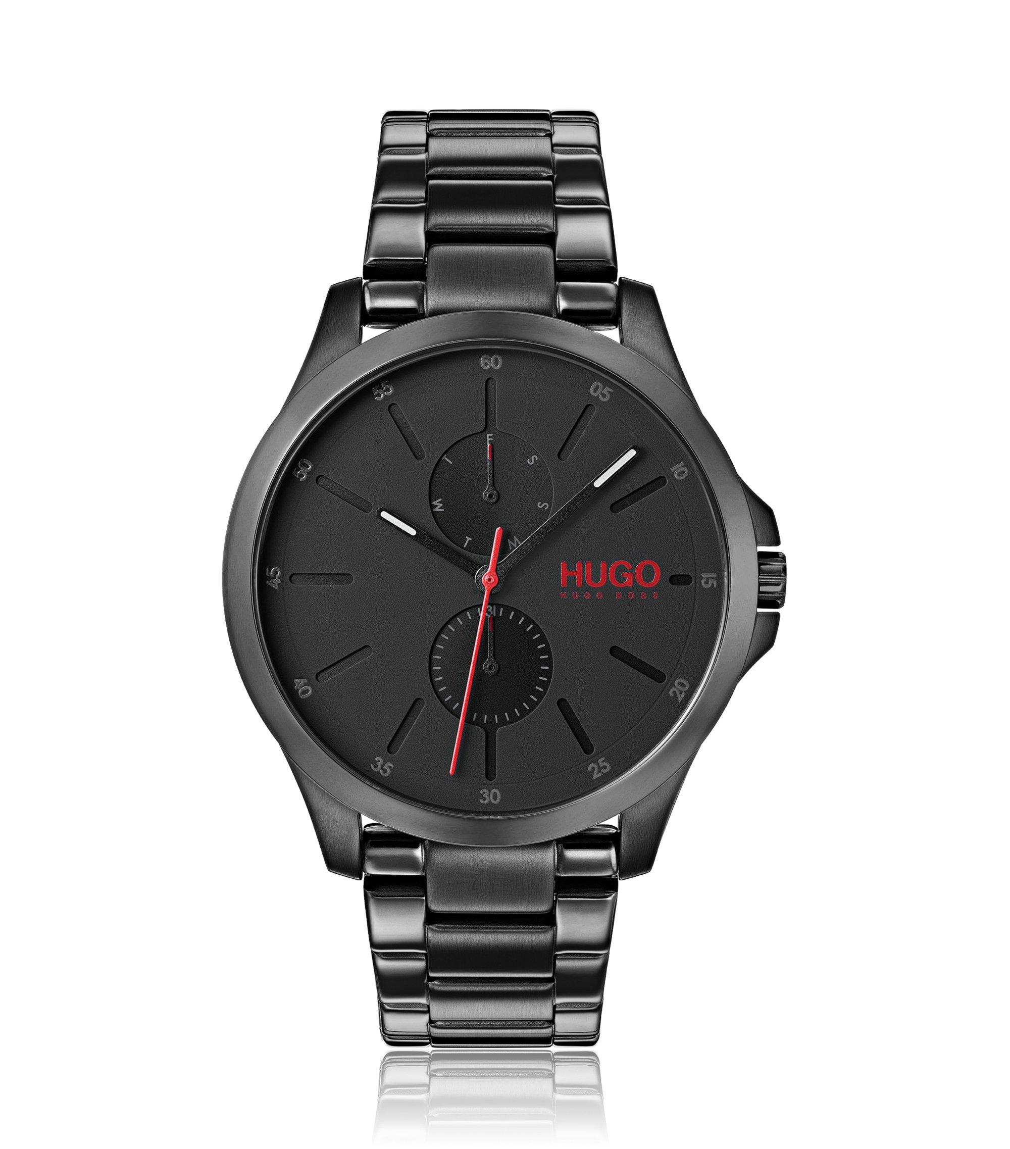 Montre chronographe avec bracelet à maillons en acier inoxydable, Argent