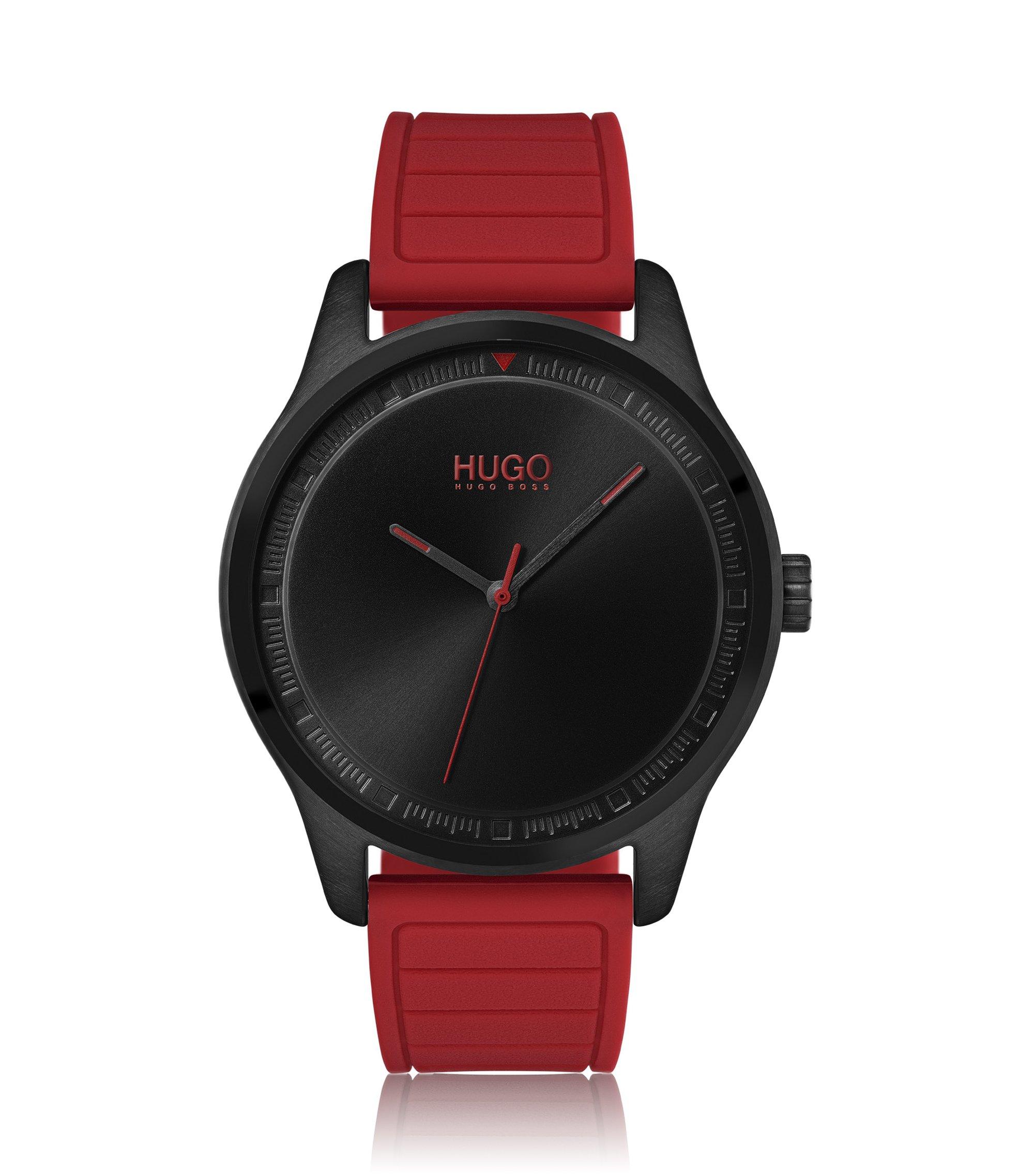 Montre en acier inoxydable avec bracelet en silicone rouge, Rouge