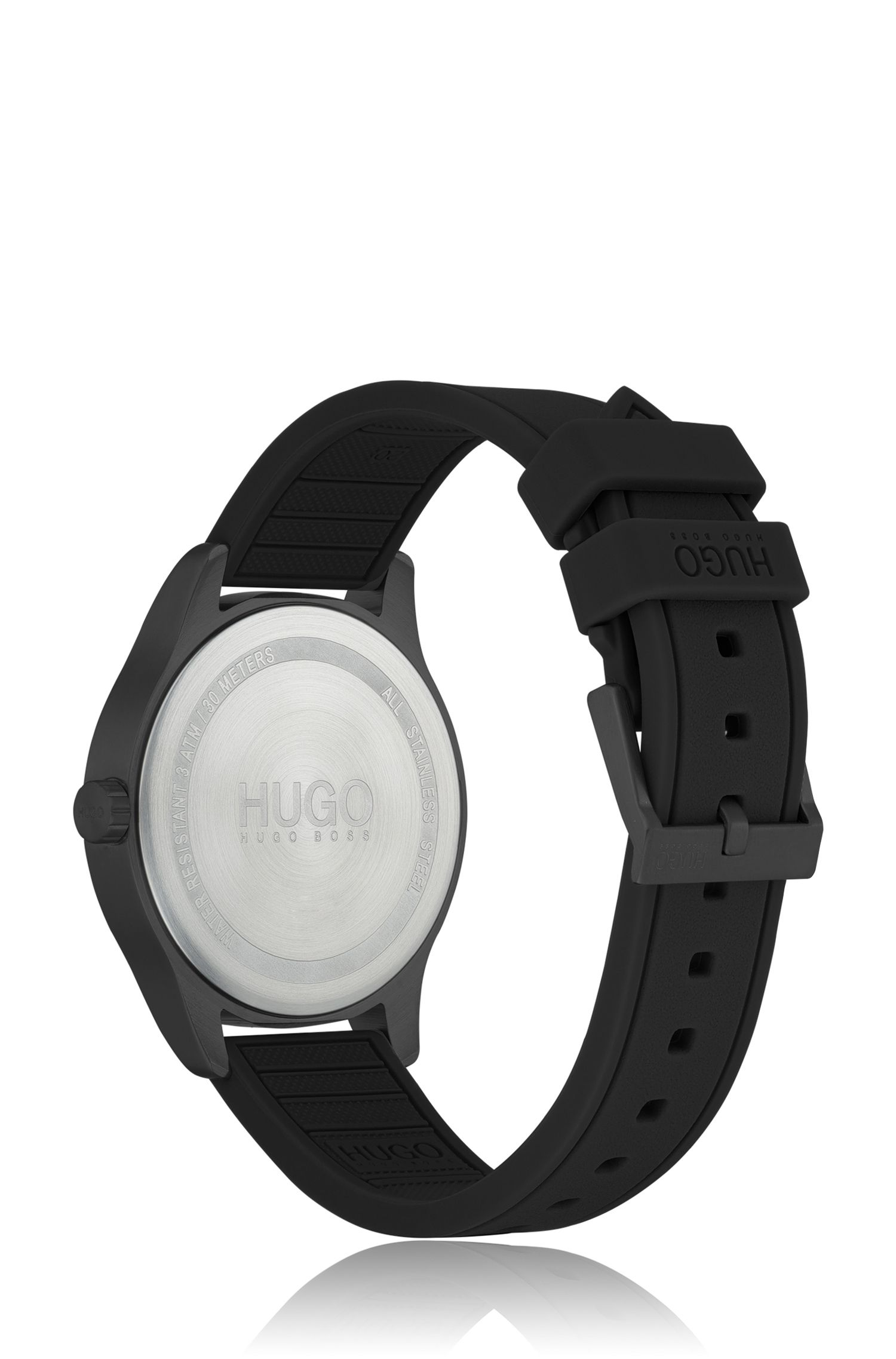 Unisex silicone-strap watch with khaki dial, Black