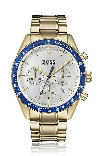 boss  Montre chronographe plaquée or jaune, avec lunette bleue Mécanisme... par LeGuide.com Publicité