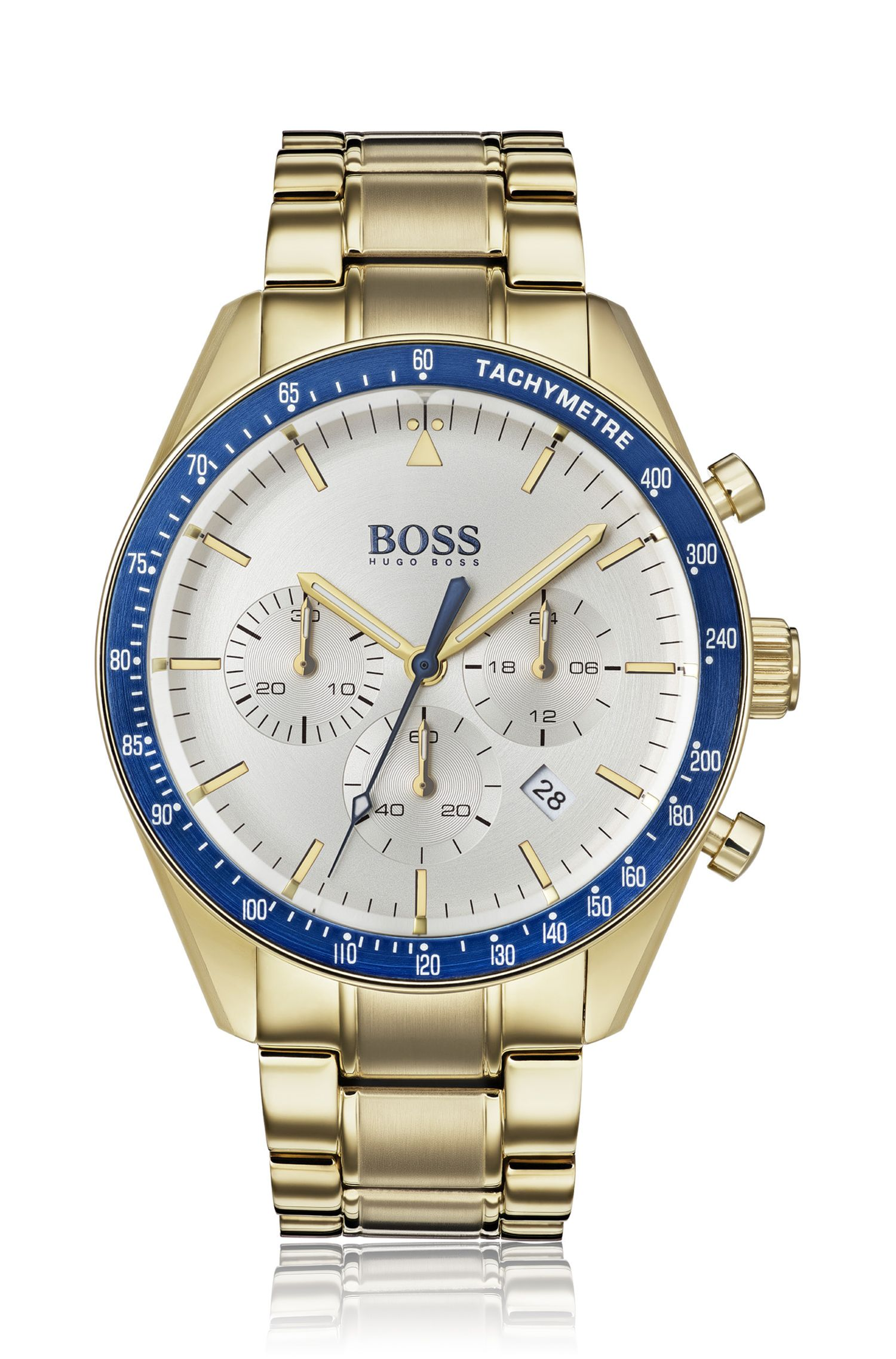 Montre chronographe plaquée or jaune, avec lunette bleue, Or