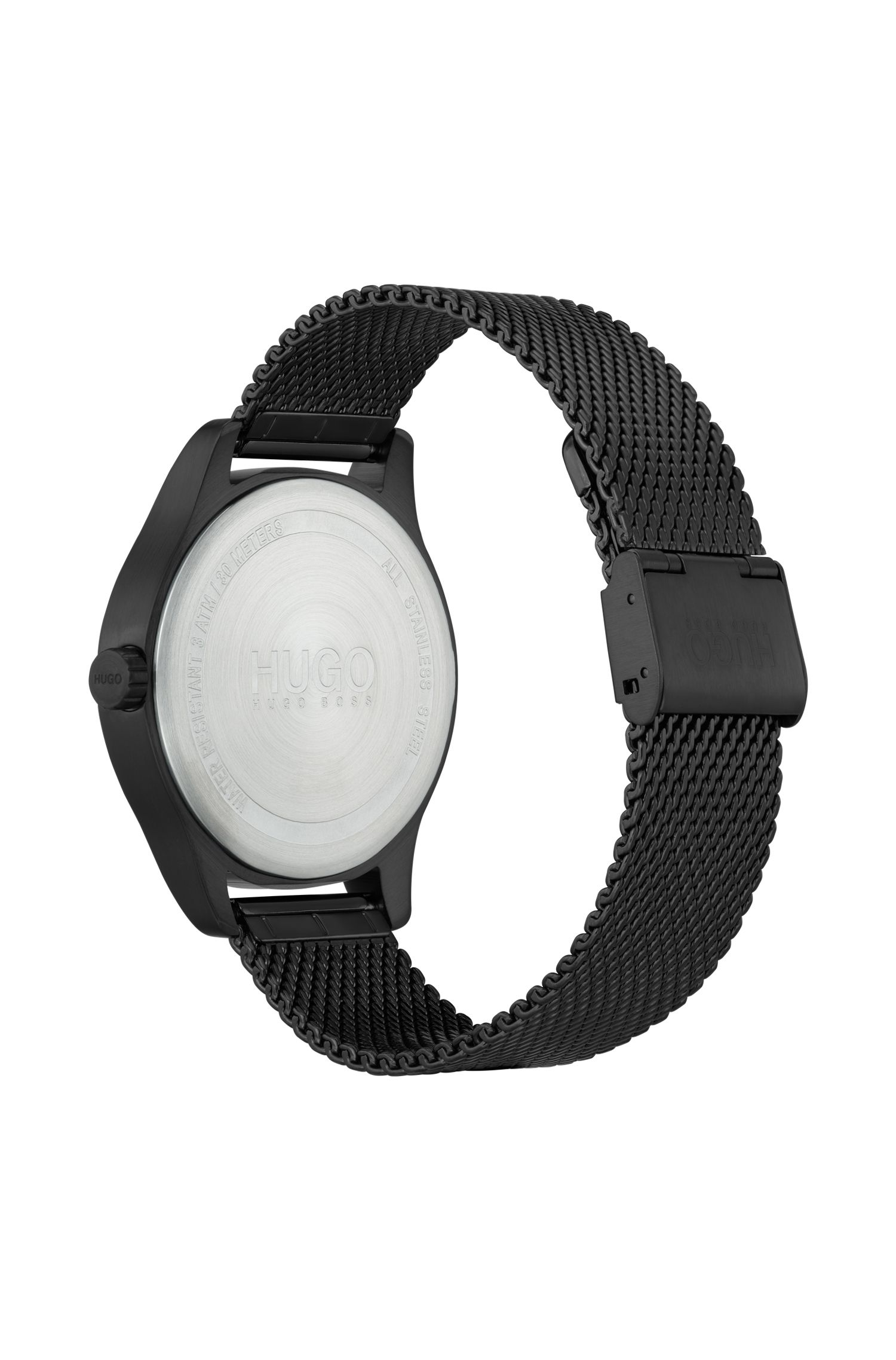 Three-hand watch in black-plated stainless steel, Black