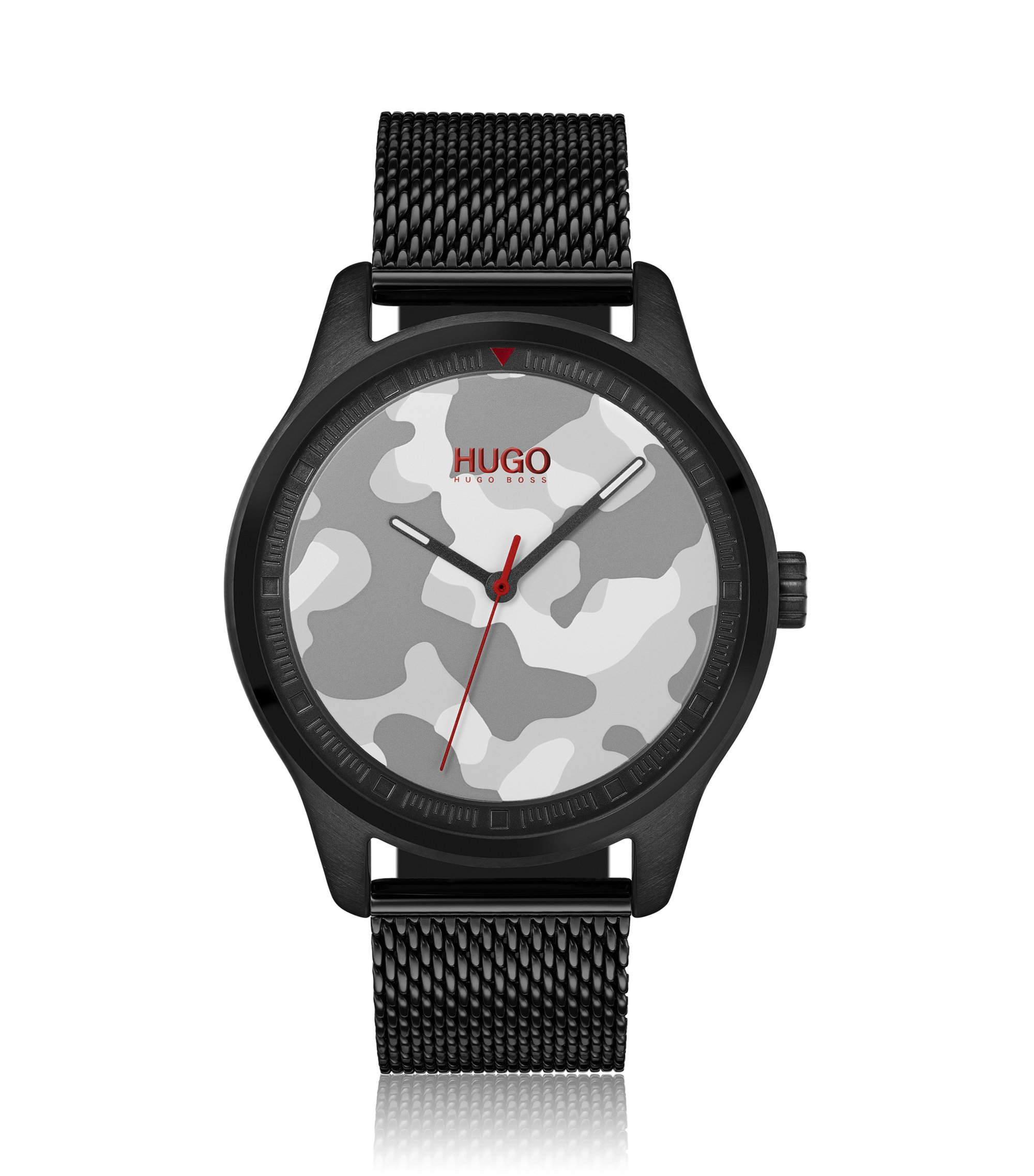 Mesh-bracelet watch with camouflage dial, Black