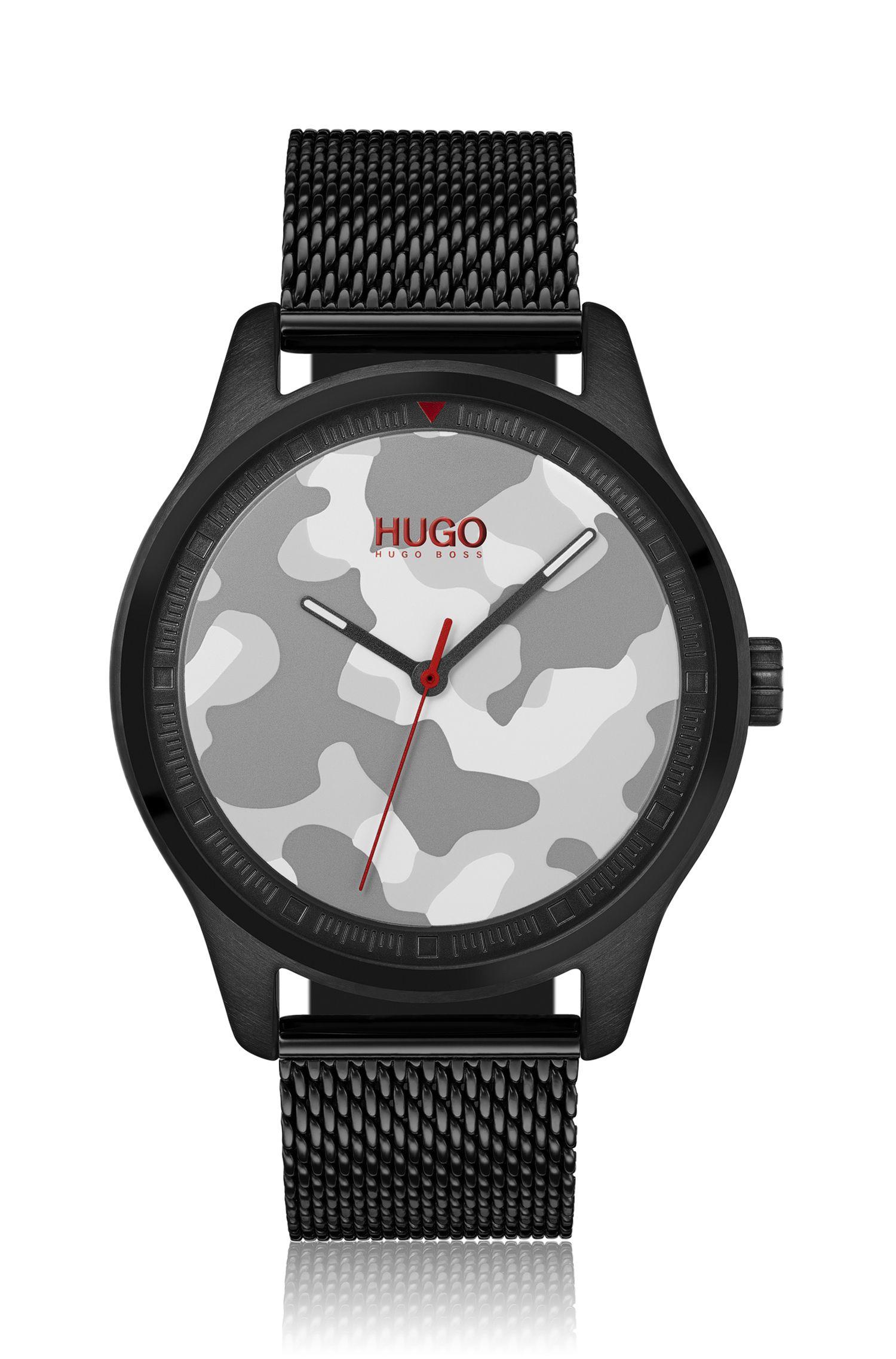 Uhr mit Camouflage-Zifferblatt und Mesh-Armband, Schwarz