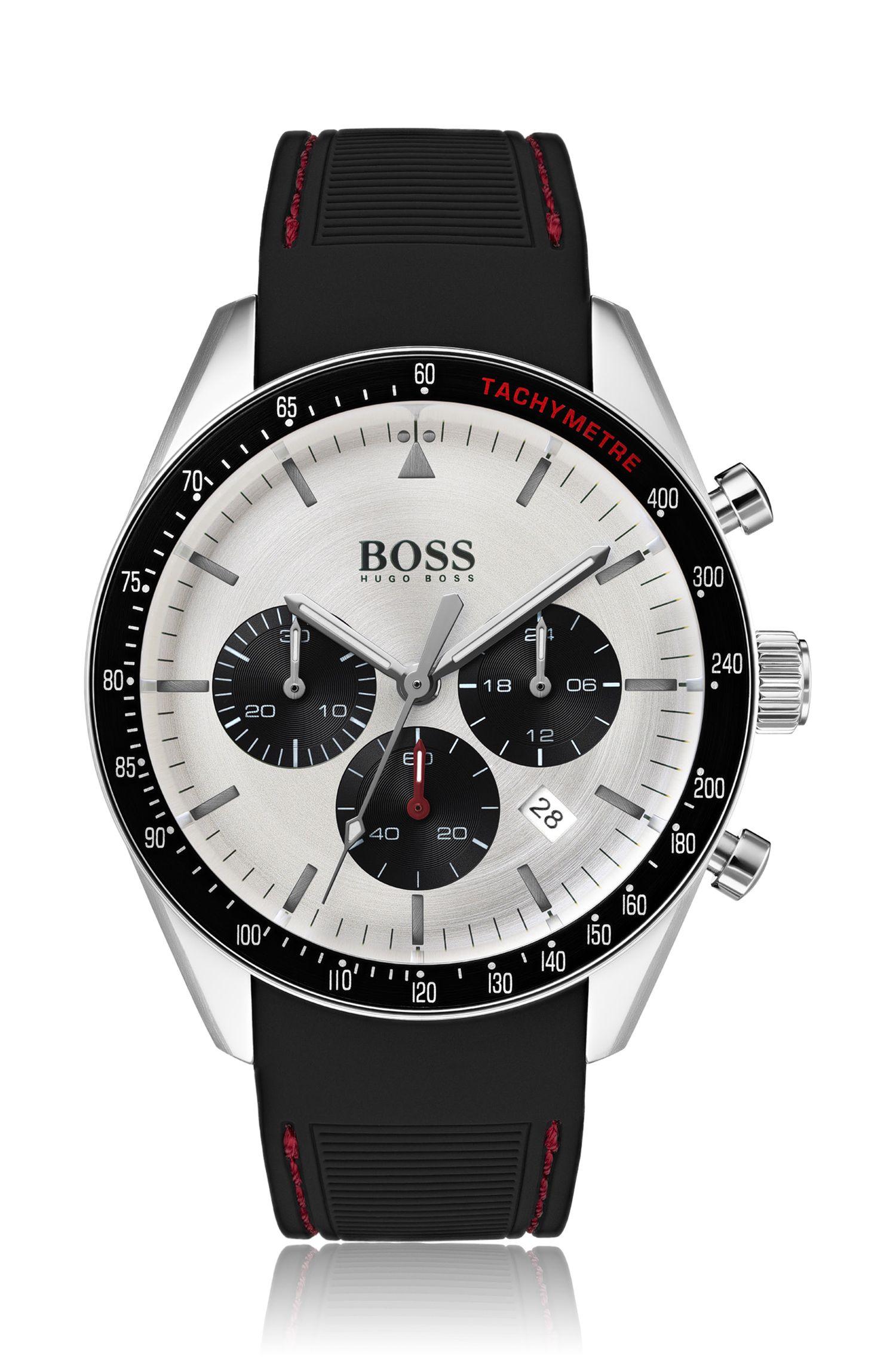 Montre chronographe en acier inoxydable à bracelet en silicone surpiqué à la main, Noir