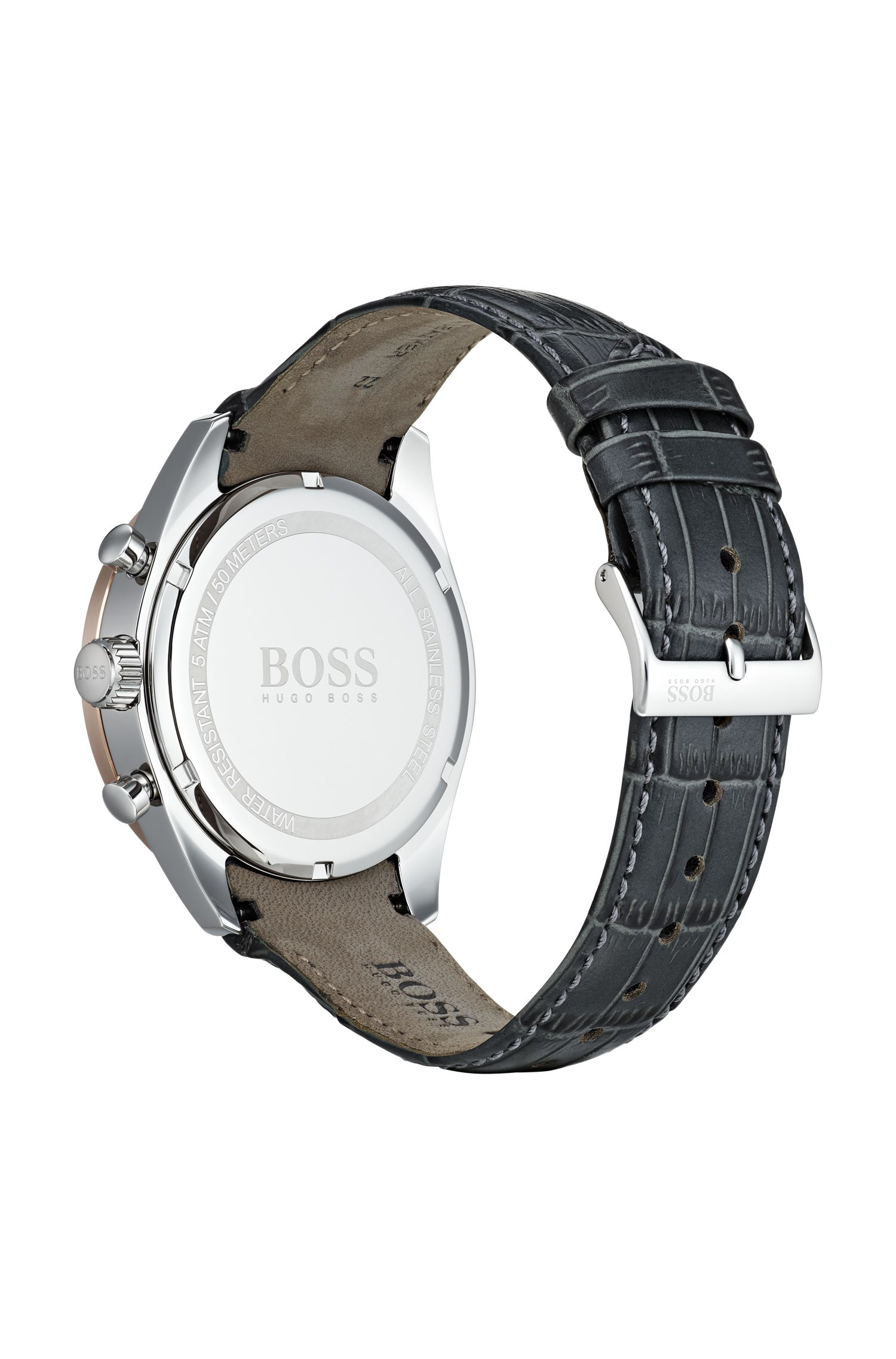 Chronograph watch with crocodile-embossed leather strap, Assorted-Pre-Pack