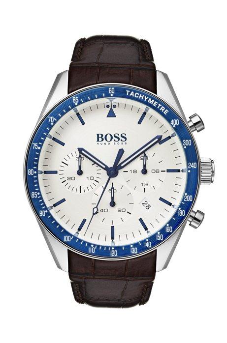 Leather-strap watch with blue bezel, Dark Brown