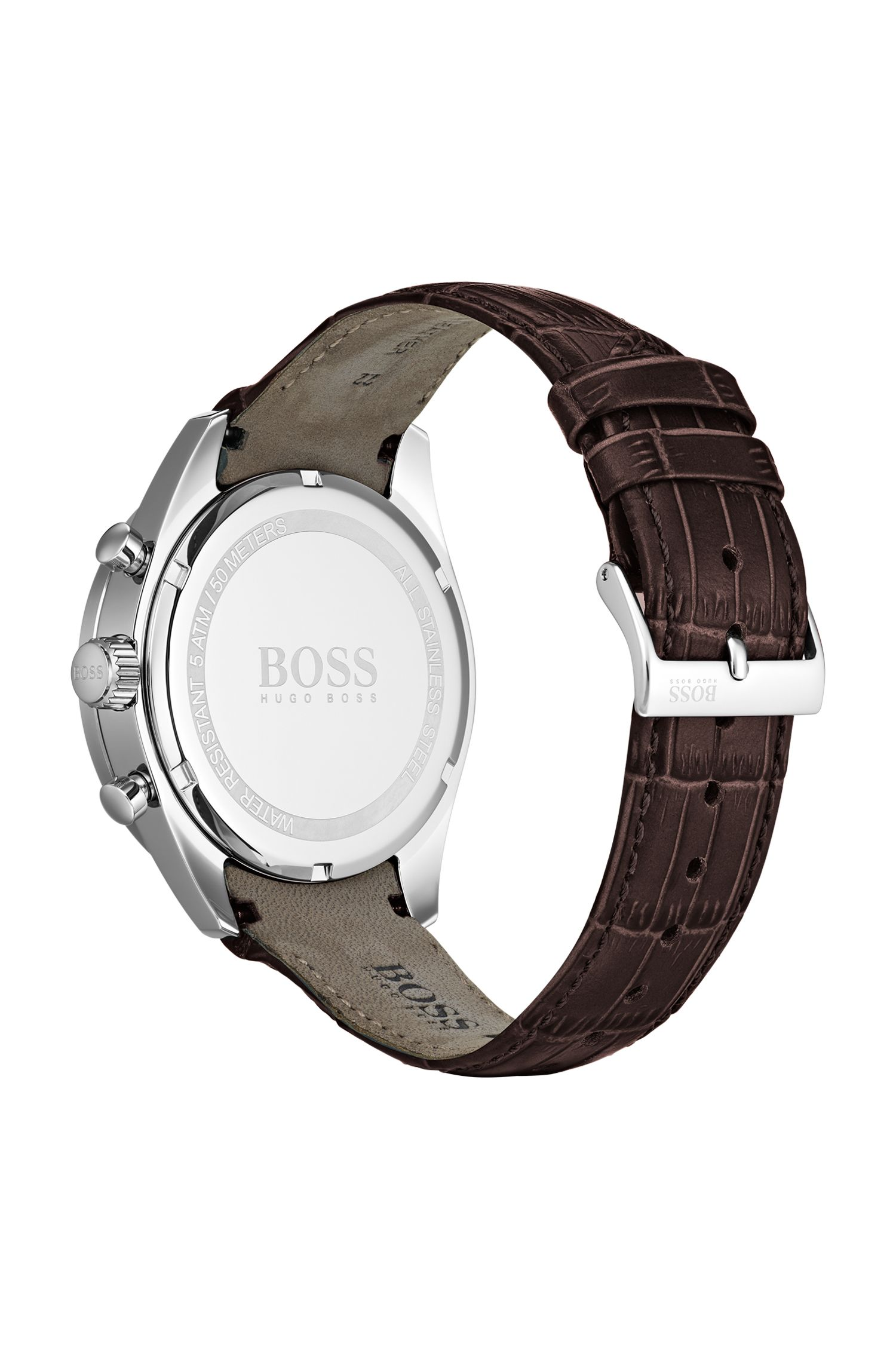 Leather-strap watch with blue bezel, Dark Brown